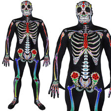 DAY OF THE DEAD SUGAR SKULL SKELETON SKIN SUIT HALLOWEEN MEXICAN FANCY DRESS