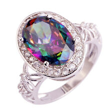 Size 6 7 8 9 10 11 Rainbow White Topaz Gemstones Silver Ring Oval Cut Fascinate