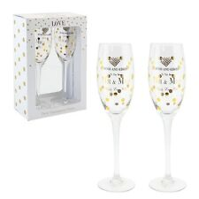 Personalised Mad Dots Pair Mr & Mrs Wedding Champagne Flutes Crystal Heart 33623