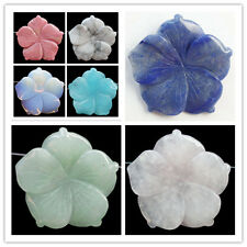 X802 Beautiful Carved Mixed Gemstone Flower Pendant Bead