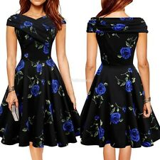 Fashion Women Vintage Style Sleeveless Sundress Floral Casual Pleated Dress C99D