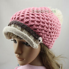Visor Beanies Women's Buttons Strap Cap Wool Knit Crochet Warm Hat PomPom