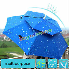 New Double Outdoor Foldable Sun Umbrella Hat Golf Fishing Camping Headwear Cap