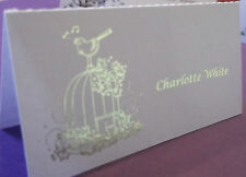24 table place cards with personalised text & birdcage with gold or silver text