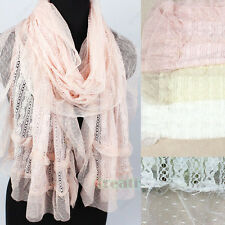 Stripe Floral Lace Mesh Sheer With Ruffle Trim Oblong Scarf Shawl Mantilla Wrap