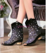 Womens Mid Heel Luxury Rhinestone Ladys Bling Pointy Toe Black Ankle Boots Shoes