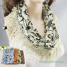 Fashion Women's Butterfly Floral Pattern Print Lace Triangle Scarf Tassel Shawl