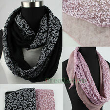 Fashion Women's Burnt-out Vine Lace Stitching Knit Triangle Scarf Shawl Wrap New