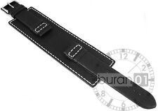 Wrist watch band Broadband Shim Watch Strap Leather watch strap black 24mm
