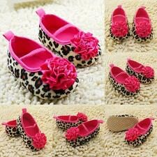 Girl Kids Cute Leopard Rose Flower Baby Shoes Soft Sole Toddler Crib Shoes 0-18M