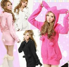Fashion Women Cute Bunny Ears Warm Sherpa Hoodie Jacket Coat Tops Outerwear