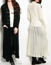 Long Sleeve w/ Pockets Soft Sweater Knit Open Front Maxi Cardigan/Cover-Up S M L