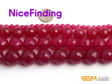 4,6,8,10,12,14mm Plum Faceted Jade Round Beads For Jewelry Making Gemstone 15""