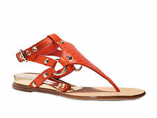 Casadei Rio womens flats t-strap sandals shoes in Paprika color genuine leather