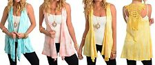 Tie-Dye Crochet Lace Back Drape Front Tunic Cover-Up Sleeveless Vest Top S M L
