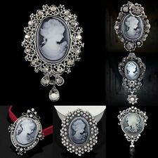 NEW Women Vintage Crystal Cameo Brooch Pin Pendant Party Charm Jewelry