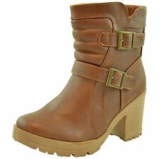 Womens Chunky Heel Western Ankle Booties w/ Buckle Accent Tan Size 5.5-10