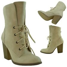 Womens Lace Up Oxford Ankle Booties w/ Block Heel Taupe Size 5.5-10