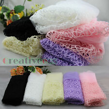 Fashion Women's Solid Color Net With Gauze 2Layer Mantilla Long Scarf Shawl Wrap