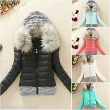 Hot Coat Winter Women Down Cotton Short Slim Fur Collar Hooded Coat Jacket Parka