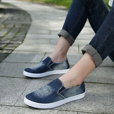 Mens Ripped Denim Flat Loafers Causal Shoes Canvas Sneaker Slip On Shoes XMR1659