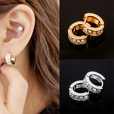 Noble Hot Fashion Punk Mens Women Crystal Stainless Steel Ear Hoop Stud Earrings