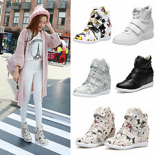 Fashion Womens Hidden Wedge High Top Sneakers Lace Up Ankle Boots Casual Shoes