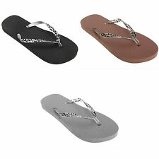 FLOSO Womens/Ladies Toe Post Flip Flops With Leopard Print Strap