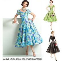 VOGUE VTG 50's RETRO SEWING PATTERN MISS PIN UP ROCKABILLY PARTY DRESS SIZE 6-22