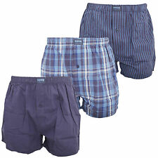 Soho Collection Mens Navy Blue Stripe Cotton Woven Boxers (Pack Of 3)