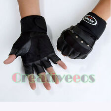 Men's Genuine Leather Studded Fingerless Sports Motorcycle Bike Wrist Gloves NEW
