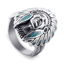 Gem Avenue 925 Silver Onyx Coral Turquoise MOP Southwestern Style Ring #TBRS035