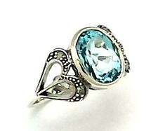 Ring with Blue Topaz Diamond 925 Silver ANTIQUE STYLE Sterling silver