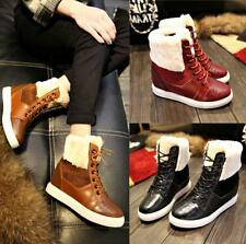 womens ankle Boots fur fashion snow boot lace up sneaker Suede Check wedge shoes