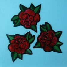 3 Rose Flower Motif Iron on Sew Patch Sequin Applique Badge Embroidered Dress