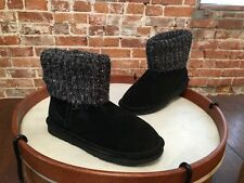 Lamo Black Suede Water Resistant Sweater Cuff Empire Boots NEW