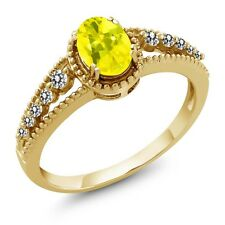 1.00 Ct Oval Canary Mystic Topaz White Diamond 14K Yellow Gold Ring
