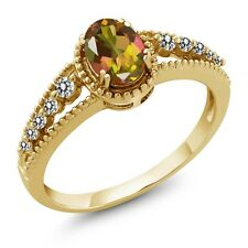 1.00 Ct Oval Mango Mystic Topaz White Diamond 14K Yellow Gold Ring