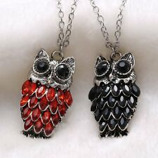 NEW Owl Animal Red Ruby Blue Sapphire Crystal Tibet Silver Pendant Long Necklace