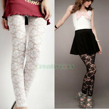 Fashion Women Girl's Sexy Lace Floral Thin Stretchy Back Tight Leggings Pants