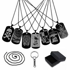 CUSTOM ENGRAVED PERSONALIZED 316L Steel Dog Tag Necklace Pendant Keychain