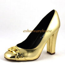 Gold Metallic Office Cutie Chain Link Round Toe Tall Chunky Tower Heel Pumps