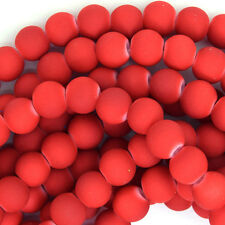 "Frost Red Matte Glass Round Beads Gemstone 15"" Strand 4mm 6mm 8mm 10mm 12mm"
