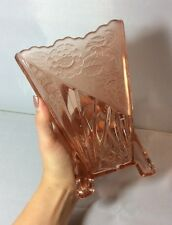 Vintage Sowerby Pink Glass Art Deco Triangular Daisy Flower Vase