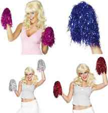PAIR OF CHEERLEADING CHEERLEADER VARSITY SPORT PARTY DANCE METALLIC POM POMS