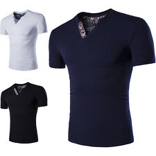 Fashion Summer Mens Casual V-Neck Tops Blouse Slim Fit Short Sleeve T-Shirt New