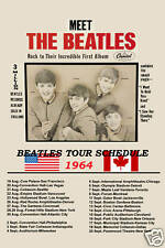 The Beatles  U.S.A. and Canadian Tour Poster 1964 WINDOW CARD