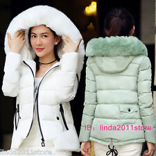 Winter Warm Coat Womens Down Fur Hooded Parka Coat Ladies Short Thick Jacket