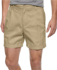 NWT Mens Club Room Core Double Pleat Twill 6 inch Shorts Patrol Khaki Sz 32 & 44