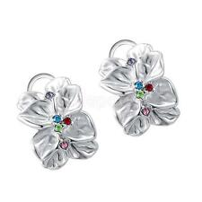 Fashion Rose Petals Unique Design with Colorful Crystal Earrings stud jewelry